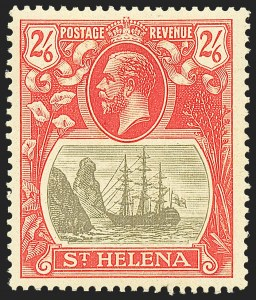 Sale Number 1226, Lot Number 1284, St. Helena thru SeychellesST. HELENA, 1922, 2sh6p Gray & Red on Yellow, Torn Flag (SG 94b), ST. HELENA, 1922, 2sh6p Gray & Red on Yellow, Torn Flag (SG 94b)