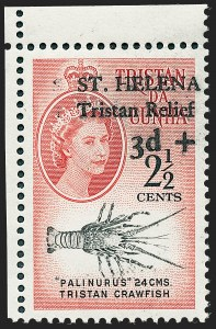 Sale Number 1226, Lot Number 1287, St. Helena thru SeychellesST. HELENA, 1961, 2-1/2p + 3p Brown Red & Black, Tristan Relief (B1; SG 172), ST. HELENA, 1961, 2-1/2p + 3p Brown Red & Black, Tristan Relief (B1; SG 172)