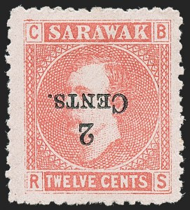 Sale Number 1226, Lot Number 1289, St. Helena thru SeychellesSARAWAK, 1899, 2c on 12c Red on Rose, Inverted Surcharge (33a; SG 33a), SARAWAK, 1899, 2c on 12c Red on Rose, Inverted Surcharge (33a; SG 33a)