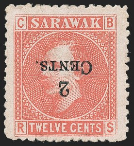 Sale Number 1226, Lot Number 1290, St. Helena thru SeychellesSARAWAK, 1899, 2c on 12c Red on Rose, Inverted Surcharge (33a; SG 33a), SARAWAK, 1899, 2c on 12c Red on Rose, Inverted Surcharge (33a; SG 33a)