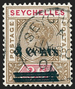 Sale Number 1226, Lot Number 1292, St. Helena thru SeychellesSEYCHELLES, 1901, 3c on 36c Brown & Rose, Double Surcharge (31b; SG 39a), SEYCHELLES, 1901, 3c on 36c Brown & Rose, Double Surcharge (31b; SG 39a)