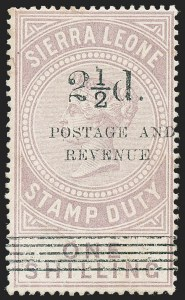 "Sale Number 1226, Lot Number 1296, Sierra LeoneSIERRA LEONE, 1897, 2-1/2p on 1sh Lilac, Italic ""N"" in ""Revenue"" (58a; SG 66a), SIERRA LEONE, 1897, 2-1/2p on 1sh Lilac, Italic ""N"" in ""Revenue"" (58a; SG 66a)"