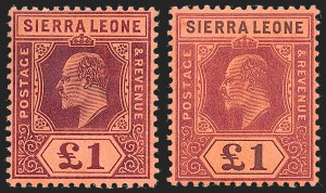 Sale Number 1226, Lot Number 1300, Sierra LeoneSIERRA LEONE, 1904-05, -1/2p-£1 and 1907-10, -1/2p-£1 King Edward VII (77-102; SG 86-111), SIERRA LEONE, 1904-05, -1/2p-£1 and 1907-10, -1/2p-£1 King Edward VII (77-102; SG 86-111)