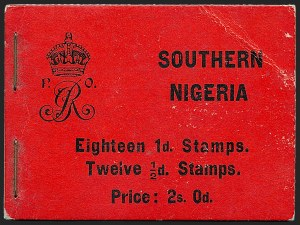 Sale Number 1226, Lot Number 1310, Solomon Islands thru SudanSOUTHERN NIGERIA, 1912, 2sh Booklet of Two Panes of -1/2p and Three Panes of 1p (SG SB5), SOUTHERN NIGERIA, 1912, 2sh Booklet of Two Panes of -1/2p and Three Panes of 1p (SG SB5)