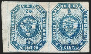Sale Number 1226, Lot Number 1339, Colombia - 1859 First Issue, 20cCOLOMBIA, 1859, 5c and 20c Blue, Se-Tenant Pair (6b), COLOMBIA, 1859, 5c and 20c Blue, Se-Tenant Pair (6b)