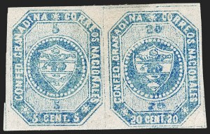 Sale Number 1226, Lot Number 1340, Colombia - 1859 First Issue, 20cCOLOMBIA, 1859, 5c and 20c Blue, Se-Tenant Pair (6b), COLOMBIA, 1859, 5c and 20c Blue, Se-Tenant Pair (6b)
