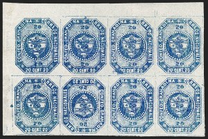 Sale Number 1226, Lot Number 1341, Colombia - 1859 First Issue, 20cCOLOMBIA, 1859, 20c Blue, Tete-Beche (6c), COLOMBIA, 1859, 20c Blue, Tete-Beche (6c)