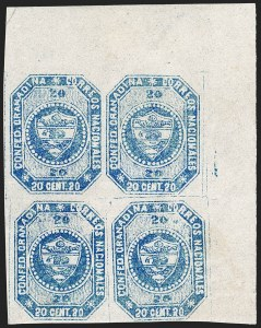 Sale Number 1226, Lot Number 1343, Colombia - 1859 First Issue, 20cCOLOMBIA, 1859, 20c Blue (6), COLOMBIA, 1859, 20c Blue (6)
