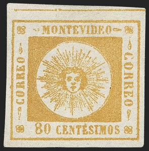 Sale Number 1226, Lot Number 1357, Uruguay - 1859 Thin Numerals, 60c-80cURUGUAY, 1859, 80c Orange, Thin Numerals (8), URUGUAY, 1859, 80c Orange, Thin Numerals (8)