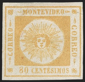 Sale Number 1226, Lot Number 1358, Uruguay - 1859 Thin Numerals, 60c-80cURUGUAY, 1859, 80c Orange, Thin Numerals (8), URUGUAY, 1859, 80c Orange, Thin Numerals (8)