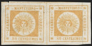 Sale Number 1226, Lot Number 1359, Uruguay - 1859 Thin Numerals, 60c-80cURUGUAY, 1859, 80c Orange, Thin Numerals (8), URUGUAY, 1859, 80c Orange, Thin Numerals (8)