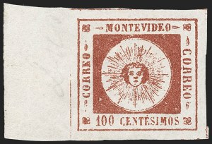 Sale Number 1226, Lot Number 1361, Uruguay - 1859 Thin Numerals, 100cURUGUAY, 1859, 100c Brown Lake, Thin Numerals (9), URUGUAY, 1859, 100c Brown Lake, Thin Numerals (9)
