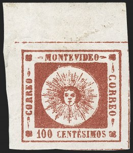 Sale Number 1226, Lot Number 1362, Uruguay - 1859 Thin Numerals, 100cURUGUAY, 1859, 100c Brown Lake, Thin Numerals (9), URUGUAY, 1859, 100c Brown Lake, Thin Numerals (9)