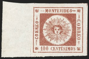 Sale Number 1226, Lot Number 1363, Uruguay - 1859 Thin Numerals, 100cURUGUAY, 1859, 100c Brown Lake, Thin Numerals (9), URUGUAY, 1859, 100c Brown Lake, Thin Numerals (9)