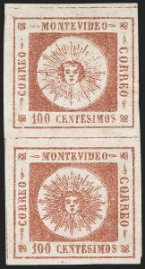 Sale Number 1226, Lot Number 1364, Uruguay - 1859 Thin Numerals, 100cURUGUAY, 1859, 100c Brown Lake, Thin Numerals (9), URUGUAY, 1859, 100c Brown Lake, Thin Numerals (9)