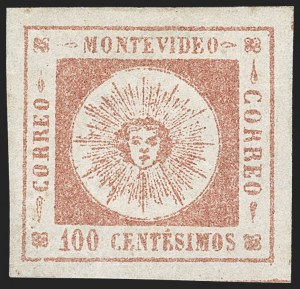 Sale Number 1226, Lot Number 1365, Uruguay - 1859 Thin Numerals, 100cURUGUAY, 1859, 100c Brown Rose, Thin Numerals (9a), URUGUAY, 1859, 100c Brown Rose, Thin Numerals (9a)