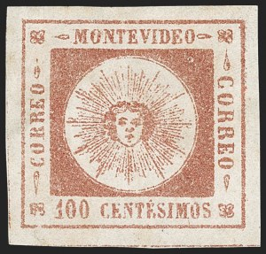 Sale Number 1226, Lot Number 1366, Uruguay - 1859 Thin Numerals, 100cURUGUAY, 1859, 100c Brown Rose, Thin Numerals (9a), URUGUAY, 1859, 100c Brown Rose, Thin Numerals (9a)