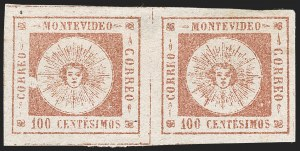 Sale Number 1226, Lot Number 1367, Uruguay - 1859 Thin Numerals, 100cURUGUAY, 1859, 100c Brown Rose, Thin Numerals (9a), URUGUAY, 1859, 100c Brown Rose, Thin Numerals (9a)