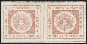 Sale Number 1226, Lot Number 1368, Uruguay - 1859 Thin Numerals, 100cURUGUAY, 1859, 100c Brown Rose, Thin Numerals (9a), URUGUAY, 1859, 100c Brown Rose, Thin Numerals (9a)