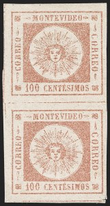 Sale Number 1226, Lot Number 1369, Uruguay - 1859 Thin Numerals, 100cURUGUAY, 1859, 100c Brown Rose, Thin Numerals (9a), URUGUAY, 1859, 100c Brown Rose, Thin Numerals (9a)