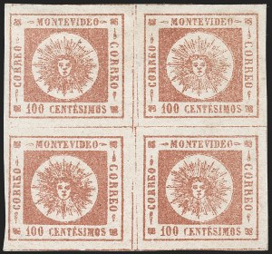 Sale Number 1226, Lot Number 1370, Uruguay - 1859 Thin Numerals, 100cURUGUAY, 1859, 100c Brown Rose, Thin Numerals (9a), URUGUAY, 1859, 100c Brown Rose, Thin Numerals (9a)