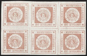 Sale Number 1226, Lot Number 1371, Uruguay - 1859 Thin Numerals, 100cURUGUAY, 1859, 100c Brown Rose, Thin Numerals (9a), URUGUAY, 1859, 100c Brown Rose, Thin Numerals (9a)