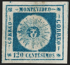 Sale Number 1226, Lot Number 1371B, Uruguay - 1859 Thin Numerals, 100cURUGUAY, 1859, 120c Slate Blue on Pelure, Thin Numerals (10a var), URUGUAY, 1859, 120c Slate Blue on Pelure, Thin Numerals (10a var)
