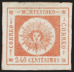 Sale Number 1226, Lot Number 1382, Uruguay - 1859 Thin Numerals, 240cURUGUAY, 1859, 240c Vermilion, Thin Numerals (12), URUGUAY, 1859, 240c Vermilion, Thin Numerals (12)