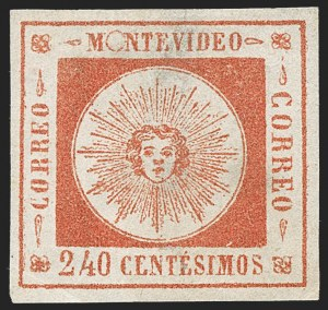 Sale Number 1226, Lot Number 1383, Uruguay - 1859 Thin Numerals, 240cURUGUAY, 1859, 240c Vermilion, Thin Numerals (12), URUGUAY, 1859, 240c Vermilion, Thin Numerals (12)