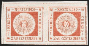 Sale Number 1226, Lot Number 1385, Uruguay - 1859 Thin Numerals, 240cURUGUAY, 1859, 240c Vermilion, Thin Numerals (12), URUGUAY, 1859, 240c Vermilion, Thin Numerals (12)