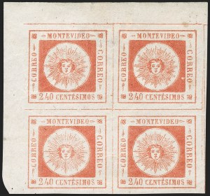 Sale Number 1226, Lot Number 1386, Uruguay - 1859 Thin Numerals, 240cURUGUAY, 1859, 240c Vermilion, Thin Numerals (12), URUGUAY, 1859, 240c Vermilion, Thin Numerals (12)