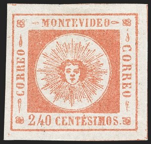 Sale Number 1226, Lot Number 1387, Uruguay - 1859 Thin Numerals, 240cURUGUAY, 1859, 240c Vermilion, Thin Numerals (12), URUGUAY, 1859, 240c Vermilion, Thin Numerals (12)