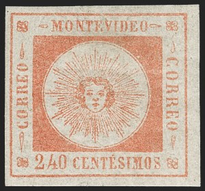 Sale Number 1226, Lot Number 1388, Uruguay - 1859 Thin Numerals, 240cURUGUAY, 1859, 240c Vermilion, Thin Numerals (12), URUGUAY, 1859, 240c Vermilion, Thin Numerals (12)