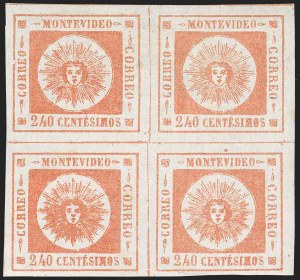 Sale Number 1226, Lot Number 1389, Uruguay - 1859 Thin Numerals, 240cURUGUAY, 1859, 240c Vermilion, Thin Numerals (12), URUGUAY, 1859, 240c Vermilion, Thin Numerals (12)