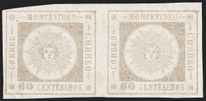 Sale Number 1226, Lot Number 1394, Uruguay - 1860 Thick Numerals, 60c-80cURUGUAY, 1860, 60c Gray Lilac, Fine Impression, Thick Numerals (13d), URUGUAY, 1860, 60c Gray Lilac, Fine Impression, Thick Numerals (13d)