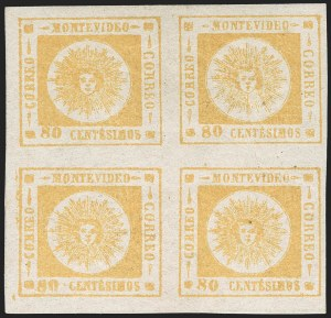 Sale Number 1226, Lot Number 1396, Uruguay - 1860 Thick Numerals, 60c-80cURUGUAY, 1860, 80c Yellow, Thick Numerals (14), URUGUAY, 1860, 80c Yellow, Thick Numerals (14)