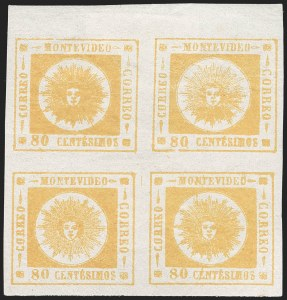 Sale Number 1226, Lot Number 1397, Uruguay - 1860 Thick Numerals, 60c-80cURUGUAY, 1860, 80c Yellow, Thick Numerals (14), URUGUAY, 1860, 80c Yellow, Thick Numerals (14)
