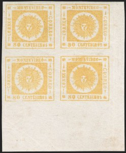Sale Number 1226, Lot Number 1398, Uruguay - 1860 Thick Numerals, 60c-80cURUGUAY, 1860, 80c Yellow, Thick Numerals (14), URUGUAY, 1860, 80c Yellow, Thick Numerals (14)