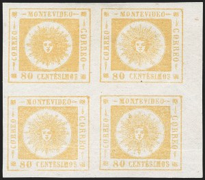 Sale Number 1226, Lot Number 1399, Uruguay - 1860 Thick Numerals, 60c-80cURUGUAY, 1860, 80c Yellow, Thick Numerals (14), URUGUAY, 1860, 80c Yellow, Thick Numerals (14)