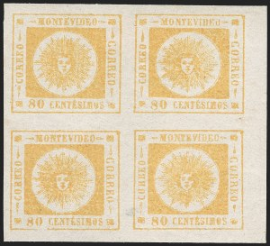 Sale Number 1226, Lot Number 1400, Uruguay - 1860 Thick Numerals, 60c-80cURUGUAY, 1860, 80c Yellow, Thick Numerals (14), URUGUAY, 1860, 80c Yellow, Thick Numerals (14)
