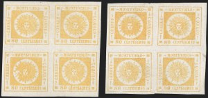 Sale Number 1226, Lot Number 1402, Uruguay - 1860 Thick Numerals, 60c-80cURUGUAY, 1860, 80c Yellow, Thick Numerals (14), URUGUAY, 1860, 80c Yellow, Thick Numerals (14)