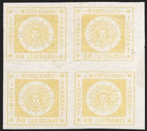 Sale Number 1226, Lot Number 1404, Uruguay - 1860 Thick Numerals, 60c-80cURUGUAY, 1860, 80c Yellow, Thick Numerals (14), URUGUAY, 1860, 80c Yellow, Thick Numerals (14)