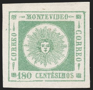 Sale Number 1226, Lot Number 1413, Uruguay - 1860 Thick Numerals, 100c-180cURUGUAY, 1860, 180c Yellow Green, Thick Numerals (17), URUGUAY, 1860, 180c Yellow Green, Thick Numerals (17)