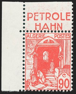 Sale Number 1226, Lot Number 1415, Algeria thru BelgiumALGERIA, 1938, 90c Red, Unissued with Advertising (67 Footnote; Yvert 137Aa), ALGERIA, 1938, 90c Red, Unissued with Advertising (67 Footnote; Yvert 137Aa)