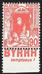 Sale Number 1226, Lot Number 1416, Algeria thru BelgiumALGERIA, 1938, 90c Red, Unissued with Advertising (67 Footnote; Yvert 137Aa), ALGERIA, 1938, 90c Red, Unissued with Advertising (67 Footnote; Yvert 137Aa)