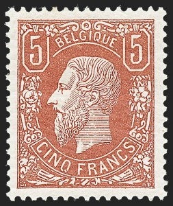 Sale Number 1226, Lot Number 1424, Algeria thru BelgiumBELGIUM, 1875, 5fr Deep Brown Red (39; COB 37), BELGIUM, 1875, 5fr Deep Brown Red (39; COB 37)