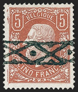 Sale Number 1226, Lot Number 1425, Algeria thru BelgiumBELGIUM, 1875, 5fr Deep Brown Red (39; COB 37), BELGIUM, 1875, 5fr Deep Brown Red (39; COB 37)
