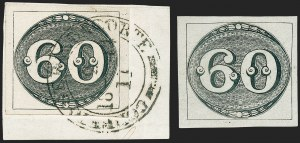 Sale Number 1226, Lot Number 1428, Bolivia thru ChileBRAZIL, 1843, 60r Black, Fine and Intermediate Impressions (2, 2a), BRAZIL, 1843, 60r Black, Fine and Intermediate Impressions (2, 2a)