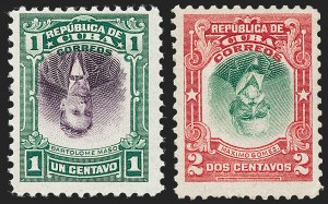 Sale Number 1226, Lot Number 1473, China, People's Republic thru Danish West IndiesCUBA, 1910, 1c Green & Violet, 2c Carmine & Green, Centers Inverted (239a, 240a), CUBA, 1910, 1c Green & Violet, 2c Carmine & Green, Centers Inverted (239a, 240a)