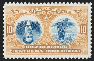 Sale Number 1226, Lot Number 1476, China, People's Republic thru Danish West IndiesCUBA, 1910, 10c Orange & Blue, Special Delivery, Center Inverted (E4a), CUBA, 1910, 10c Orange & Blue, Special Delivery, Center Inverted (E4a)